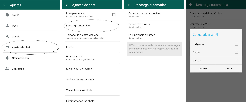 Whatsapp - Desactivar descarga automatica